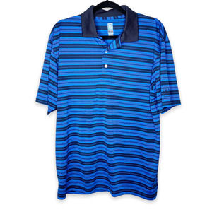 Men's PGA Tour Airflux Striped Performance Polo Shirt Large